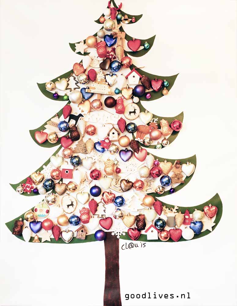 Alternatieve kerstboom op doek DIY
