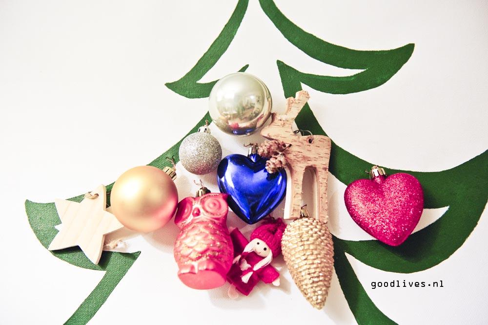 Closeup alternatieve kerstboom op doek